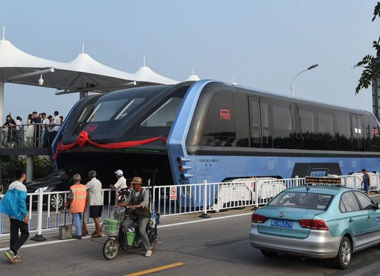 China Tests Its Elevated Bus